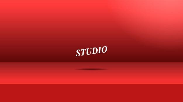 Sala de mesa vívida vazia do estúdio da cor vermelha.