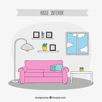 Sala de mobiliário desenhado mão