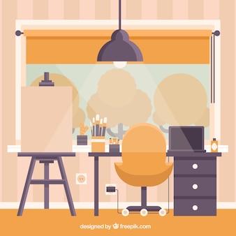 Sala de obras de arte em design plano