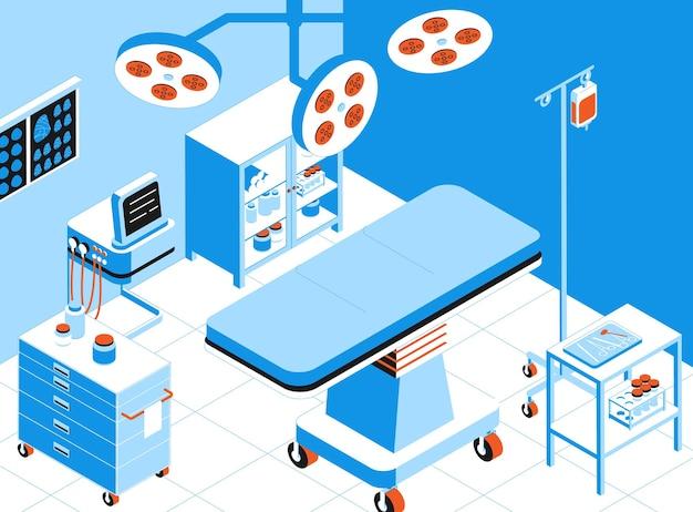 Sala de operação com equipamentos cirúrgicos e instrumentos isométricos