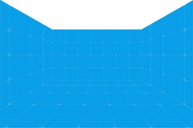 Sala de planta de perspectiva de grade sem teto. fundo de papel de milímetro de wireframe. modelo de tecnologia digital cyber box. modelo de arquitetura em branco de vetor