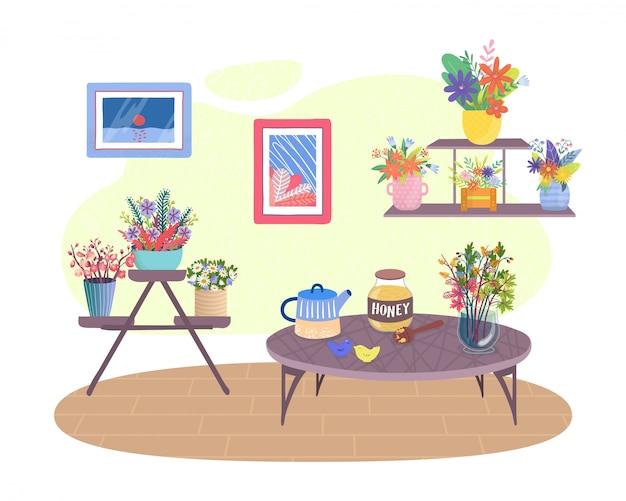 Sala de plantas, sala de desenho animado ou cozinha de apartamento aconchegante com vaso de plantas de flores, interior de decoração para casa