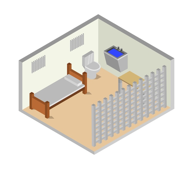 Sala de prisão isométrica