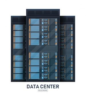 Sala de rack do servidor, fundo de centro de banco de dados grande.