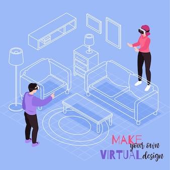 Sala de realidade virtual fornece design, composição isométrica e configuração visual de móveis 3d