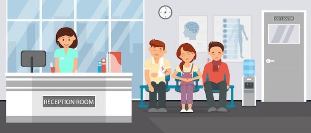 Sala de recepção na clínica