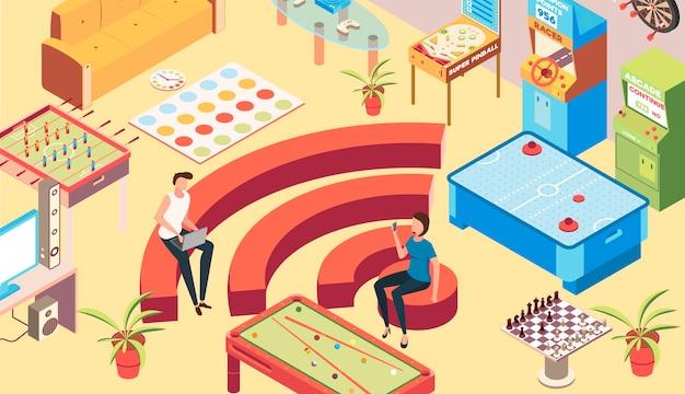 Sala de recreação isométrica com símbolos de zona wi-fi
