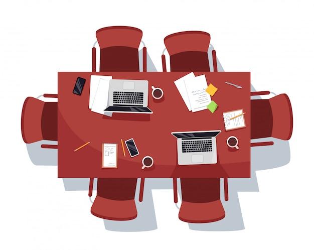 Sala de reunião vazia ilustração semi plana