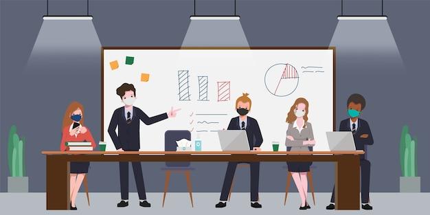 Sala de reuniões do seminário de pessoas do escritório de negócios. novo estilo de vida normal no trabalho.