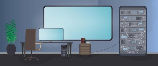 Sala de segurança. computador, monitor, mesa, cadeira, tela grande, servidor de dados.