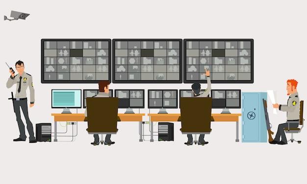 Sala de segurança em que os profissionais que trabalham. câmeras de vigilância. conceito de sistema de cftv ou vigilância.