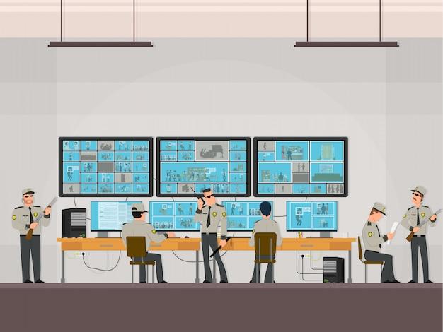 Sala de segurança na qual os profissionais que trabalham. câmeras de vigilância. conceito de sistema de cftv ou vigilância.