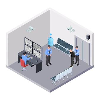Sala de segurança no aeroporto, estação ferroviária ou rodoviária