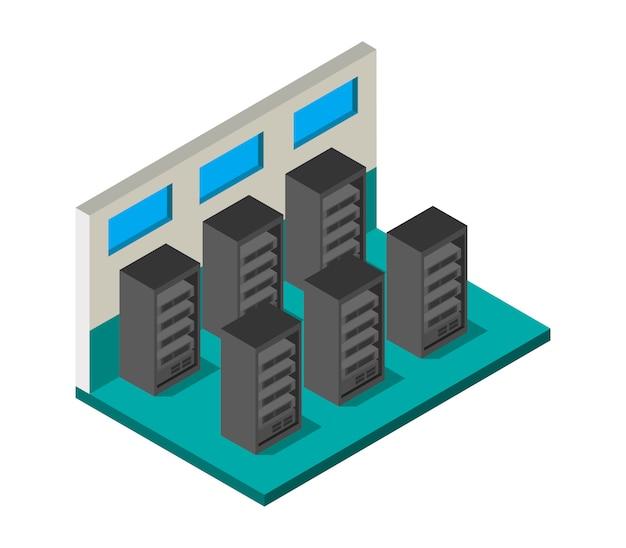 Sala de servidor isométrica