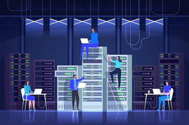 Sala de servidores, administração de sistemas, centro de controle, tecnologia de ti