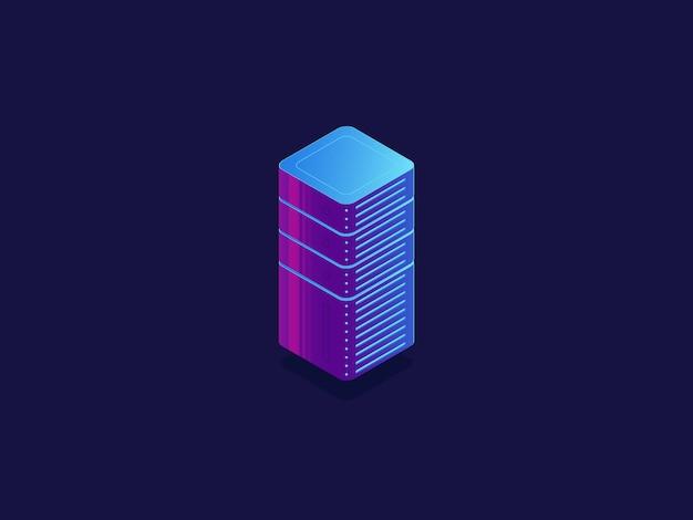 Sala de servidores, armazenamento de dados em nuvem, banco de dados do datacenter, blocos de tecnologia