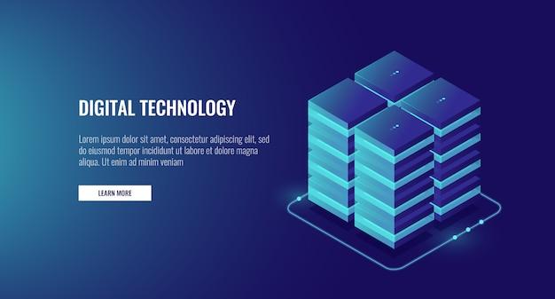 Sala de servidores, armazenamento em nuvem de dados em nuvem, grande conceito de processamento de dados, redes e internet