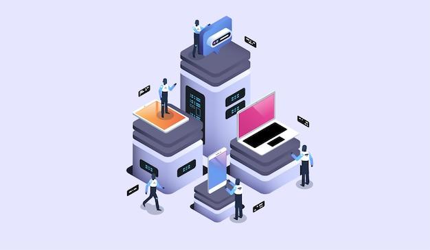 Sala de servidores com dispositivos modernos, datacenter e conceito de armazenamento em nuvem. ilustração isométrica moderna.