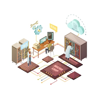 Sala de servidores com pessoal e reparo de equipamentos e serviços de suporte de armazenamento em nuvem