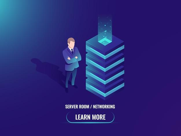 Sala de servidores, conceito de armazenamento em nuvem, super computador, processamento de dados grandes