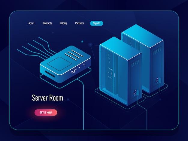 Sala de servidores, datacenter e ícone isométrico de banco de dados, redes e comunicações via internet