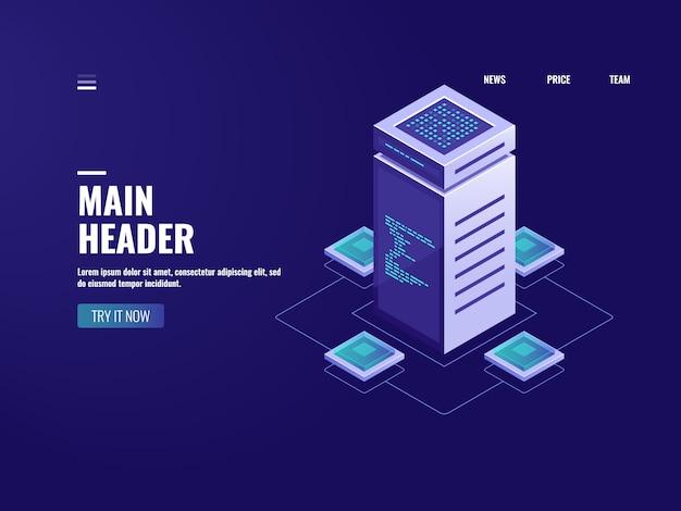 Sala de servidores de processamento de dados big isométrico, armazenamento em nuvem, tecnologia blockchain