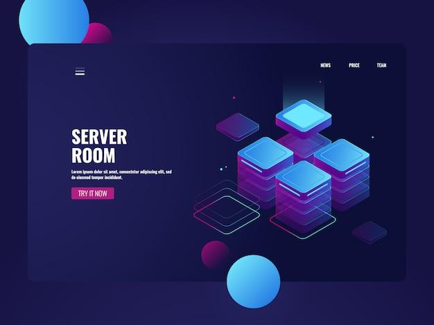 Sala de servidores de rede e datacenter isométrico, armazenamento de dados em nuvem, processamento de dados grandes