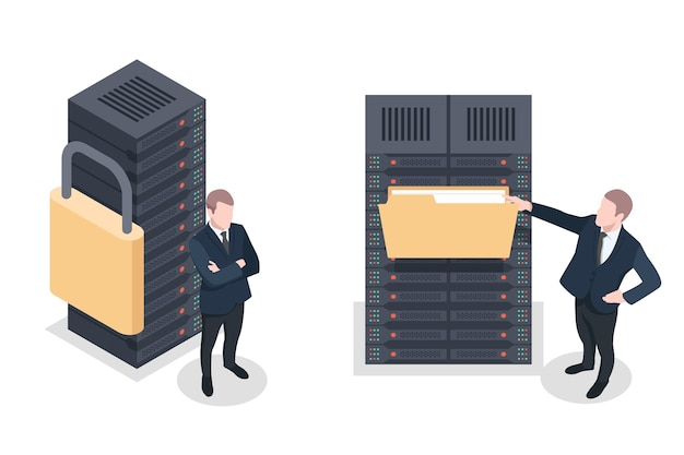 Sala de servidores de segurança, serviços de nuvem seguros, acesso a documentos remotos públicos Vetor Premium