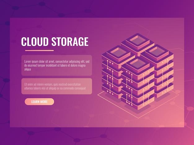 Sala de servidores, elemento abstrato de tecnologia digital isométrica, data center e banco de dados
