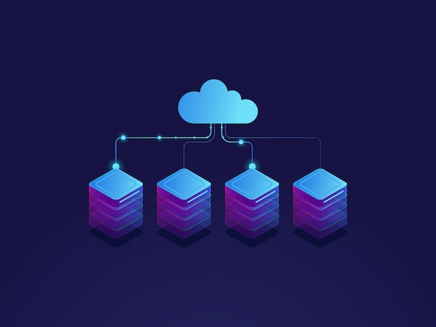Sala de servidores, ícone de armazenamento em nuvem, datacenter e banco de dados conceito, processo de troca de dados
