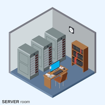 Sala de servidores, ilustração em vetor isométrica interior de centro de dados
