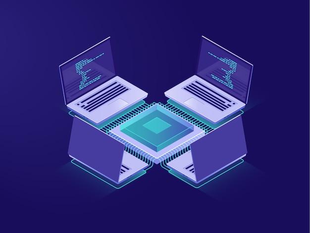 Sala de servidores, inteligência artificial, processamento de big data, operações bancárias online