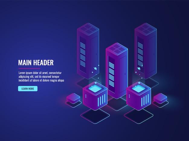 Sala de servidores isométrica, banner conceitual de serviços de hospedagem web, centro de criptografia e proteção de dados