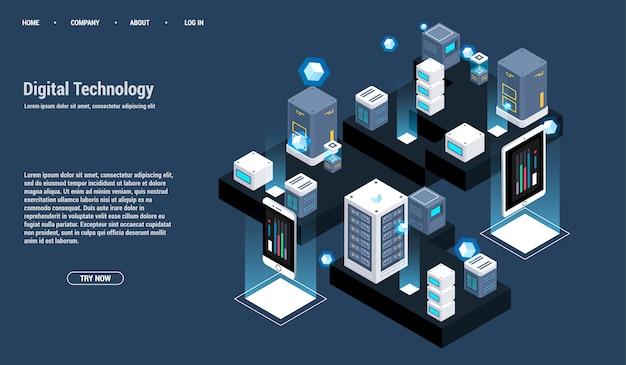 Sala de servidores isométrica e conceito de processamento de grande volume de dados, centro de dados e ícone de base de dados