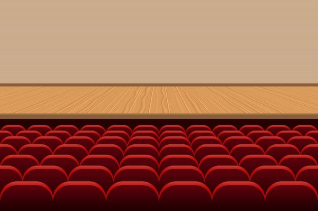 Sala de teatro com fileiras de assentos vermelhos e ilustração de palco de madeira
