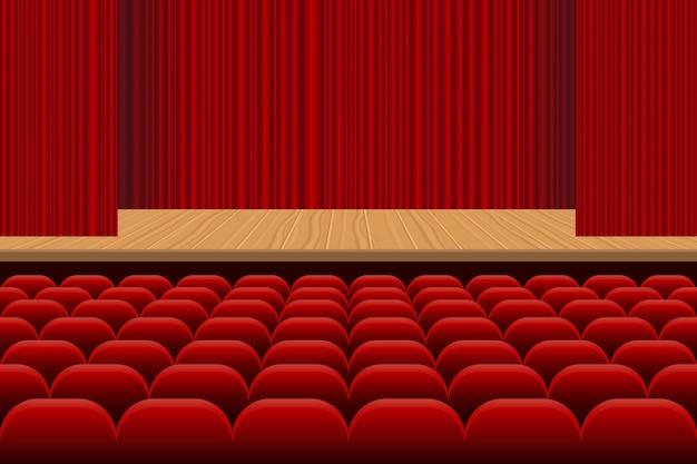 Sala de teatro com fileiras de assentos vermelhos, palco de madeira e ilustração de cortina de veludo vermelho