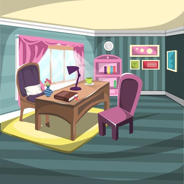 Sala de trabalho com mesa de trabalho e cadeira grande