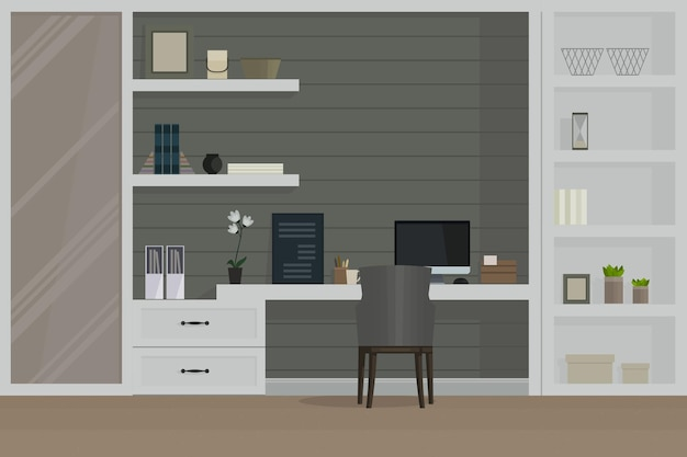 Sala de trabalho, interior moderno, armário.