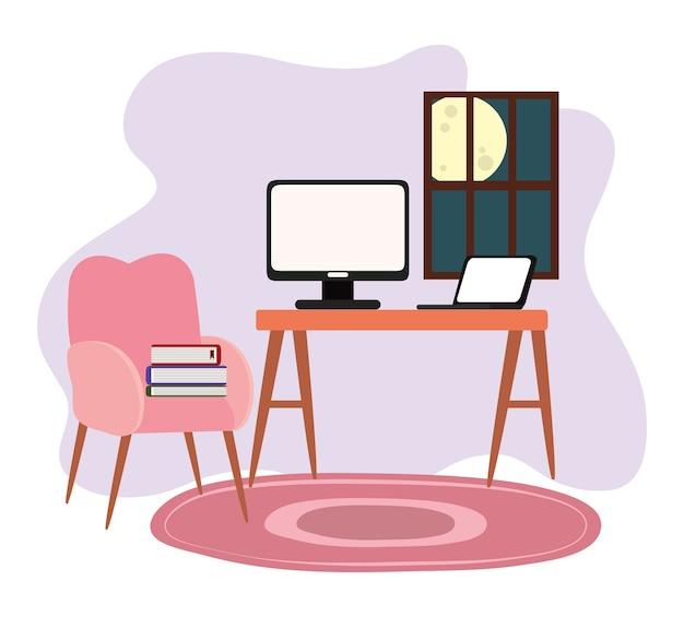 Sala de trabalho mesa em casa computador laptop cadeira livro janela ilustração