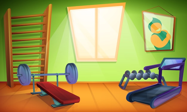 Sala de treinamento com equipamentos para esportes em estilo cartoon, ilustração vetorial