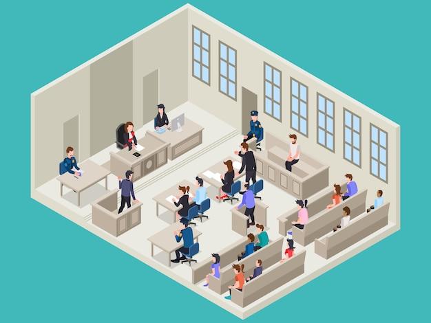 Sala de tribunal e atividade experimental com algumas pessoas dentro