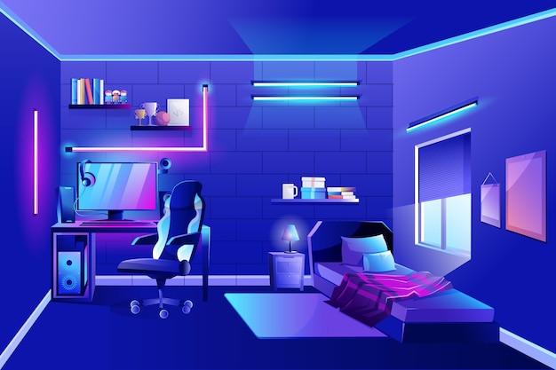 Sala do jogador detalhada com luzes de néon