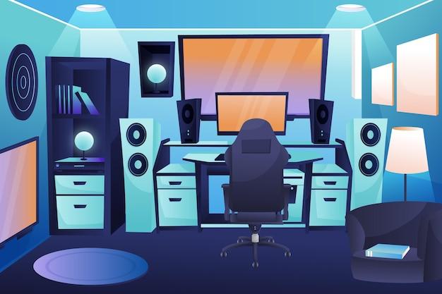 Sala do jogador detalhada ilustrada