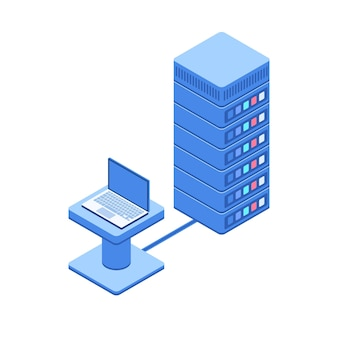 Sala do servidor de segurança de dados cibernéticos conectada com laptop