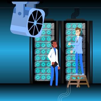 Sala do servidor do centro de bancos de dados