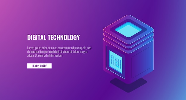 Sala do servidor isométrica, conceito de proteção de dados pessoais, grande processamento de dados, ícone de banco de dados