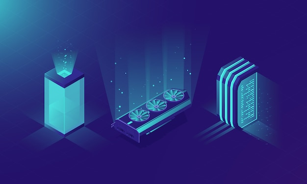 Sala do servidor isométrica, conceito de rack de servidores
