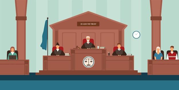 Sala do tribunal com painel de juízes sentados atrás de uma mesa ou banco, secretária, testemunhas. corte ou tribunal resolvendo disputas