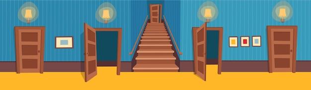 Sala interior com escadas e portas. ilustração do corredor dos desenhos animados.