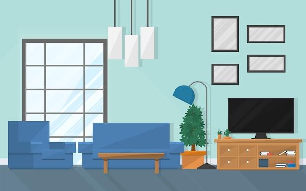 Sala interior com móveis e janela.